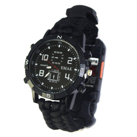 Survival Watch Rechargeable  LED Flashlight Compass Whistle Reflector