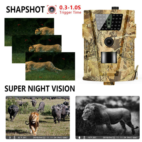 HT-001B Trail Camera 12MP 1080P 30pcs Infrared LEDs 850nm  Waterproof 120 Degree Angle Night vision