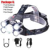 T6+4Q5/T6+2Q5 Ultra Bright LED Headlight 4 Modes Rechargeable Waterproof