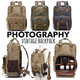 Premium Vintage Canvas Waterproof Backpack For Photography