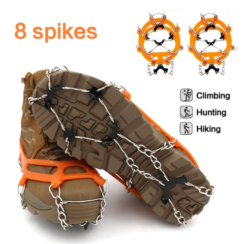 1 Pair Non-slip 8 Tooth Reinforced Crampons