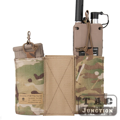 Emerson Tactical MBITR Radio And M4 5.56 Magazine Pouch Combo Set With Hook & Loop