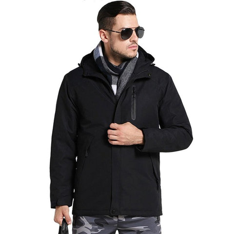 Men USB Heating Cotton Waterproof Windbreaker Jacket