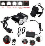 Waterproof  2*T6 LED  4 Modes Headlight  + Safety Warning Rear Lamp