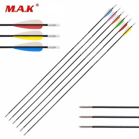 12/24 pcs Fiberglass  Arrow 26/28/30 Inches Diameter 5 mm 6 Color Vanes