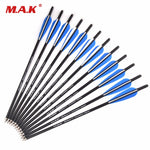 6/12/24 pcs 17in. Carbon Crossbow 8.8mm Diameter Arrow 125 Grain Tip