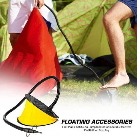 Foot Pump 3000CC Air Pump Camp Sleeping Gears Air Mattresses Inflator for Inflatable Mattress Pad Balloon Boat Toy