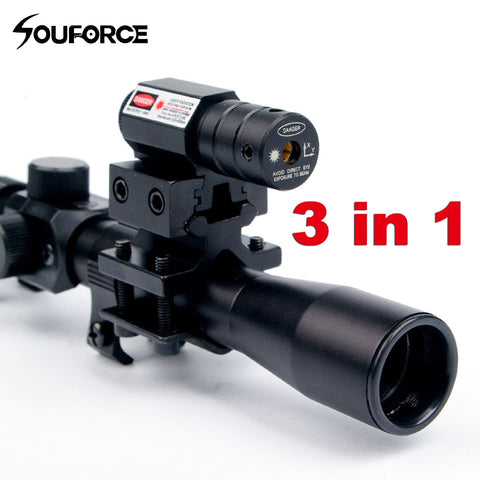 4x20  Tactical Crossbow Riflescope with Red Dot Laser Sight and 11mm Rail Mounts for 22 Caliber Guns