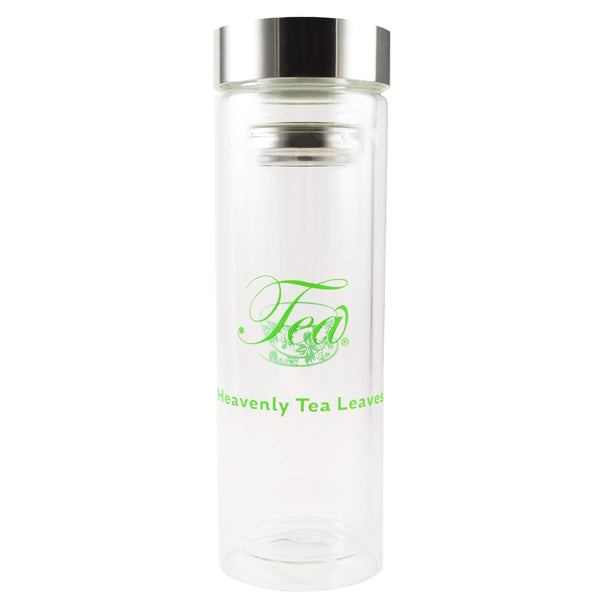 The Heavenly Tea Leaves Double Wall Tea Infuser Bottle - Glass - Tea To Go - Dishwasher Safe