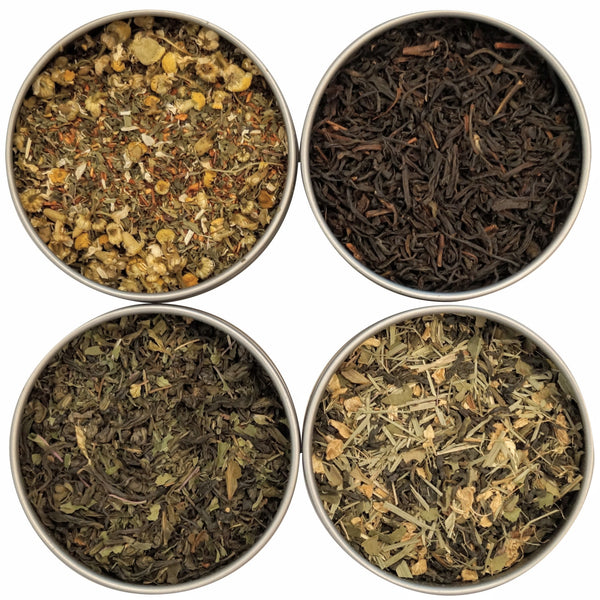 Organic Tea Sampler, 4 Organic Loose Leaf Teas & Herbal Tisanes - Makes For A Great Gift! - Heavenly Tea Leaves