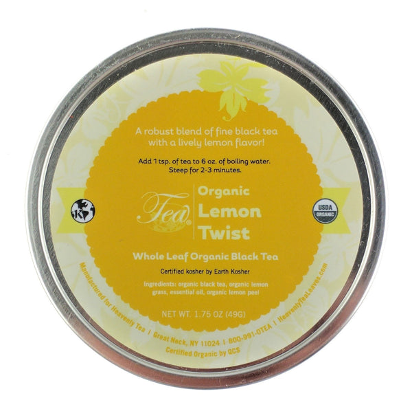 Organic Lemon Twist Tea Tin - Loose Leaf Black Tea - Heavenly Tea Leaves