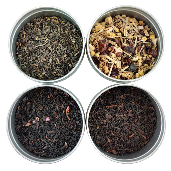 Best Selling Tea Sampler Gift Set, 4 Loose Leaf Teas & Herbal Tisanes - Heavenly Tea Leaves