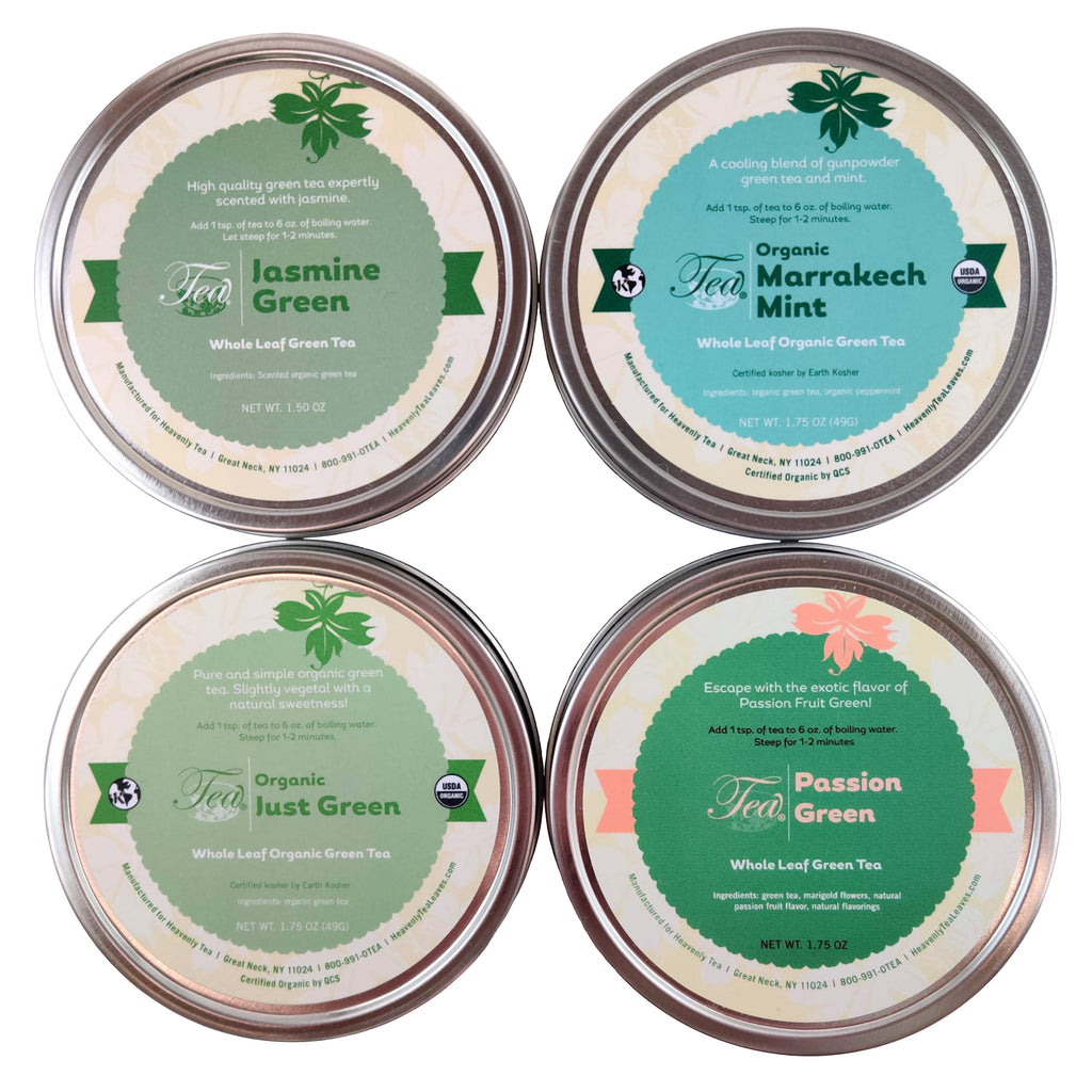 Loose Leaf Green Tea Sampler - 4 Assorted Loose Leaf Green Teas - Makes for a great Gift - Heavenly Tea Leaves