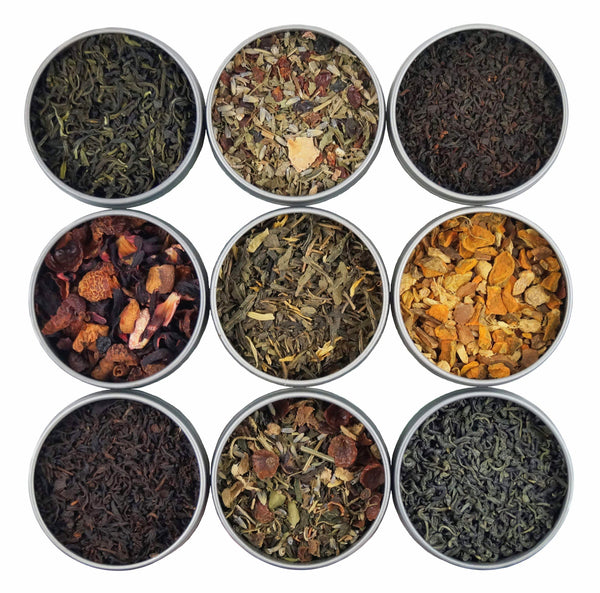 Organic Loose Leaf Tea Sampler - USDA Organic & OU Kosher - Try a Variety of 9 Loose Leaf Teas & Herbal Tisanes - Great Gift