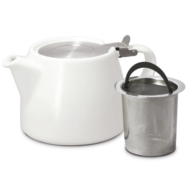 FORLIFE Stump Teapot with SLS Lid & Infuser, 18 Ounce - White