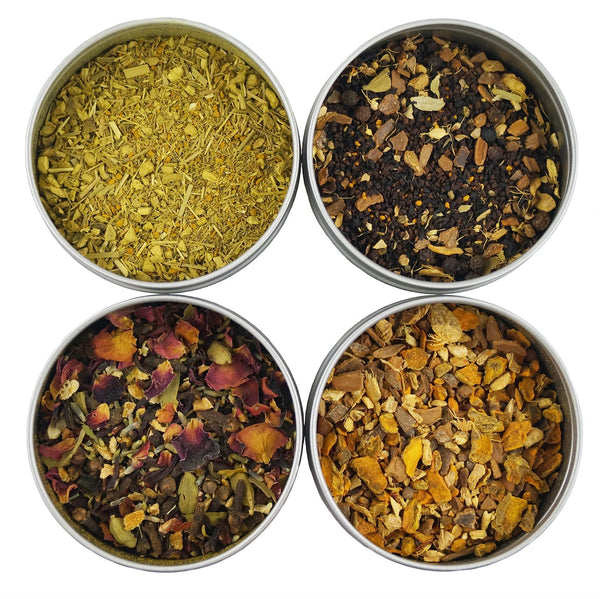 Heavenly Tea Leaves Turmeric Tea Sampler, 4 Loose Leaf Turmeric Teas & Herbal Tisanes