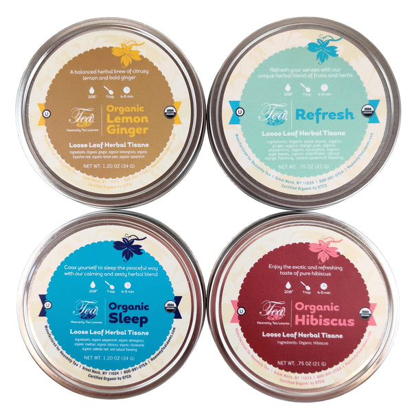Organic Wellness Herbal Tea Sampler - 4 Loose Leaf Wellness Herbal Tisanes - Makes For A Great Gift - Heavenly Tea Leaves