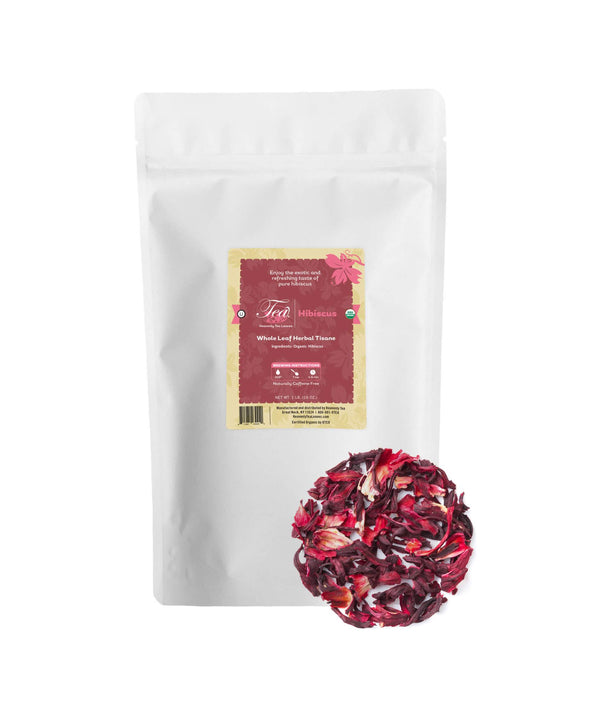 Organic Hibiscus - Bulk Loose Leaf Herbal Tisane - Naturally Caffeine Free - Antioxidant Rich - Heavenly Tea Leaves