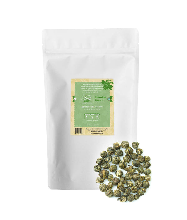 Organic Jasmine Pearl, Bulk Loose Leaf Green Tea, 16 Oz.
