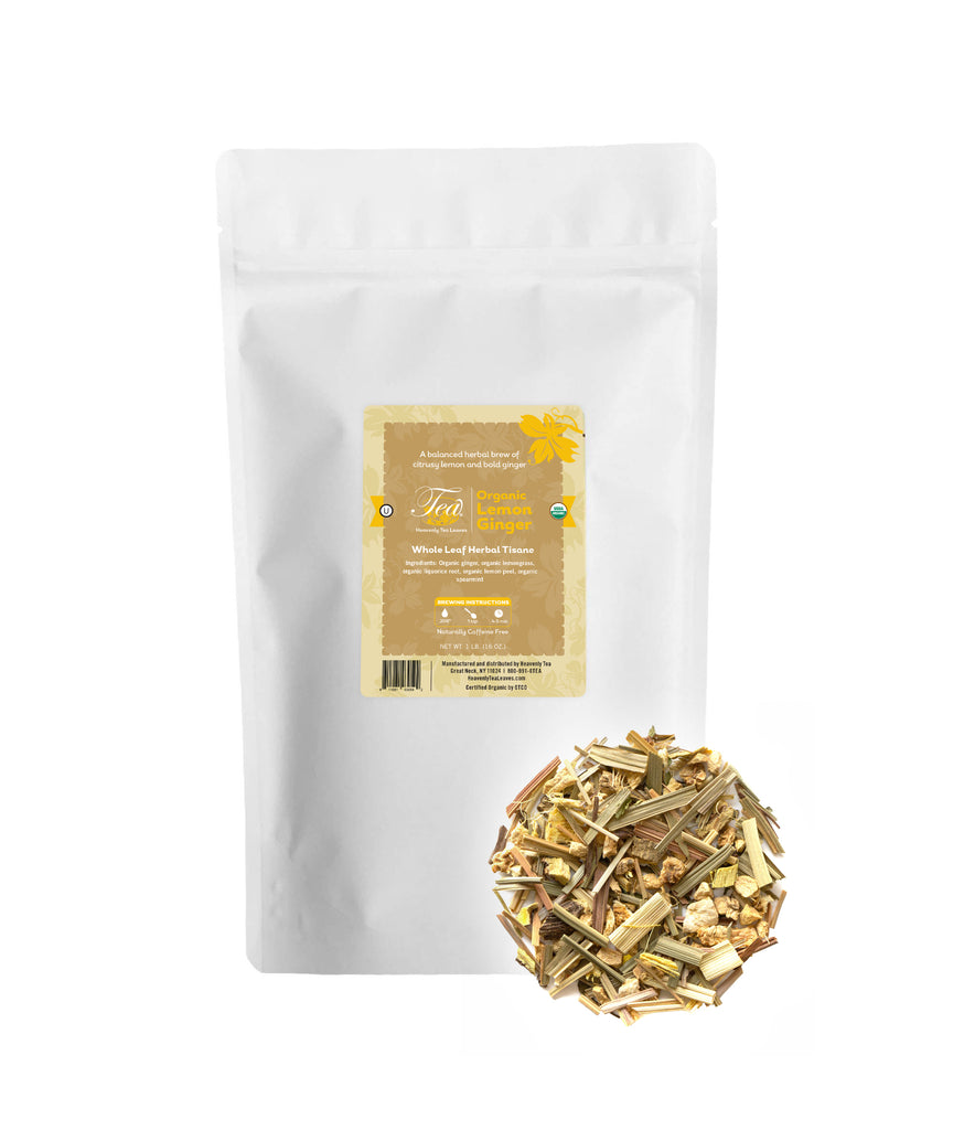 Lemon Ginger Bulk 1lb. - Loose Leaf Herbal Tisane - Stomach Settler - Heavenly Tea Leaves