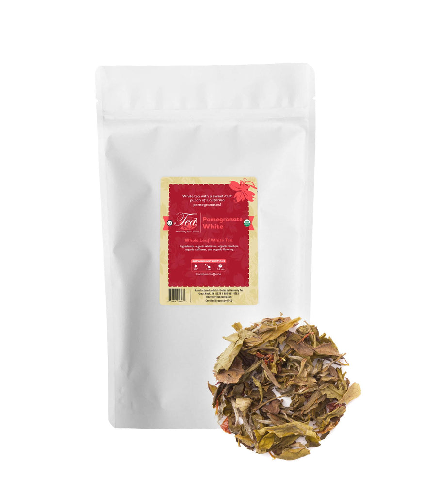 Organic Pomegranate White - Loose Leaf White Tea - Bulk - Fruity - Heavenly Tea Leaves