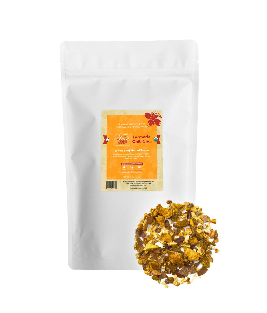 Organic Turmeric Chili Chai - Spicy Bulk Turmeric Herbal Tisane - Heavenly Tea Leaves