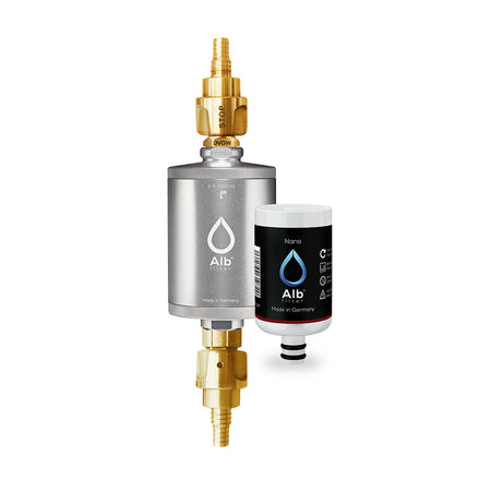 Alb Travel drinking water filter set. Consisting of the element filter housing in titanium and the Active drinking water cartridge with matching adapter for caravan and motorhome