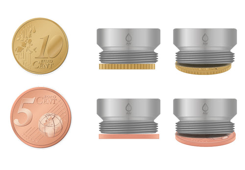 M21 thread adapter in comparison with EURO CENT coins. External thread