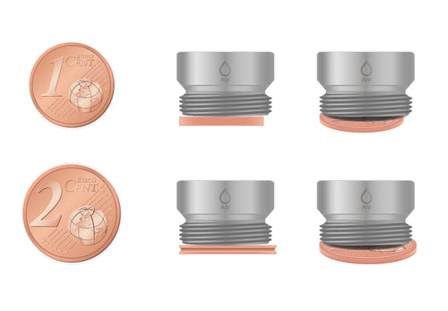 M18 thread adapter in comparison with EURO CENT coins. External thread