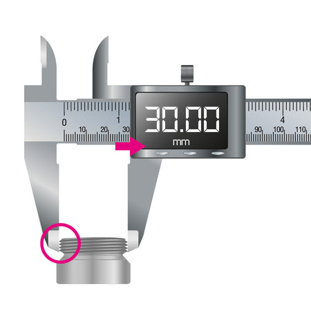Digital caliper gauge for determining thread sizes for water filters on the tap
