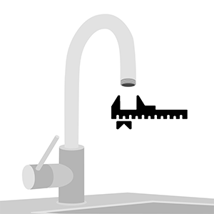 Sketch of a faucet. Illustrates how to measure the thread.