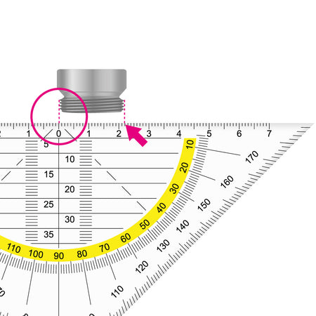Aerator / jet regulator Measuring external threads with the aid of a ruler