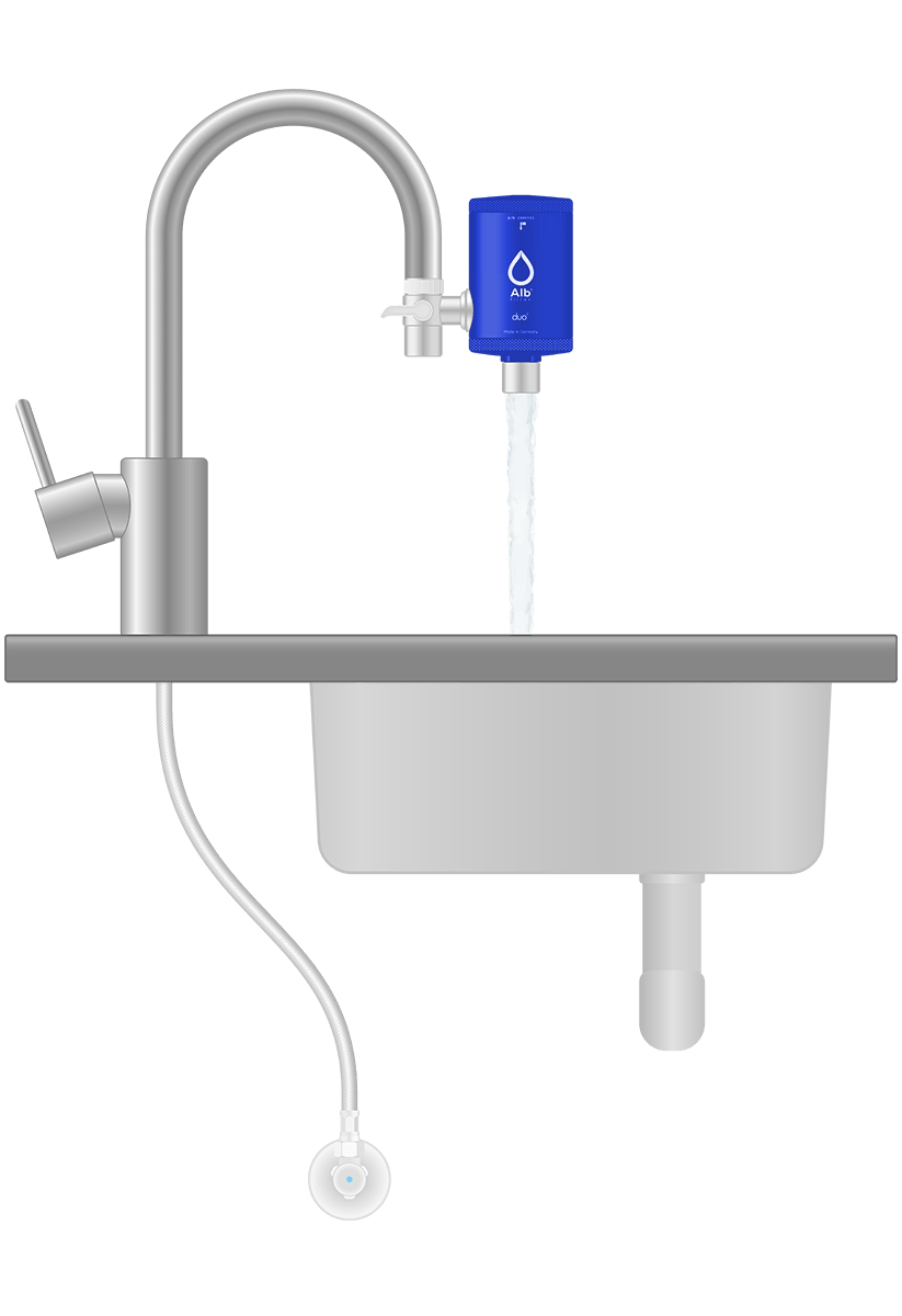 Installation diagram. Water filter for drinking water at the tap of Alb Filter