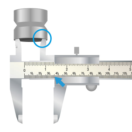 Analogue caliper gauge for determining thread sizes for water filters at the tap