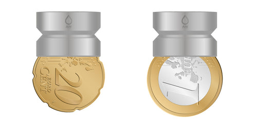 M20 thread adapter in comparison with EURO coins. Internal thread