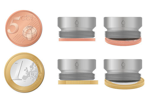 M21.5 thread adapter in comparison with EURO CENT coins. External thread