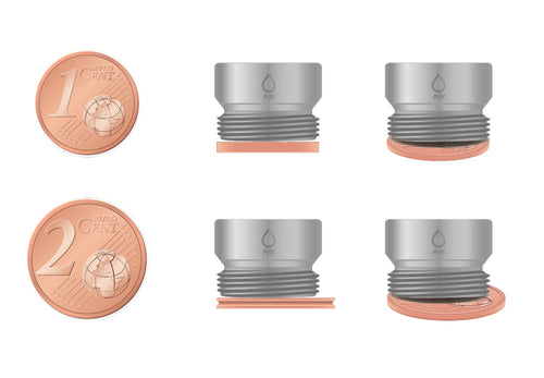 M16.5 thread adapter in comparison with EURO CENT coins. External thread