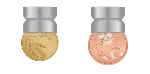 M18.5 thread adapter in comparison with EURO CENT coins. Internal thread
