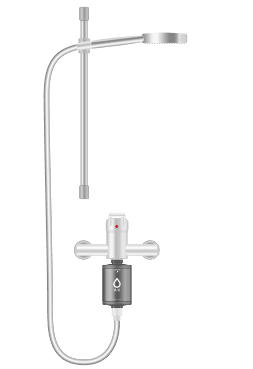 Alb shower filter sketch. Filter is fitted between fitting and shower hose