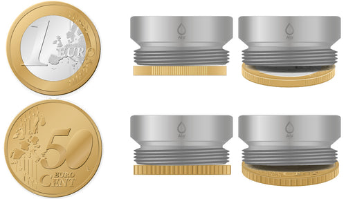 M24 thread adapter in comparison with EURO CENT coins. External thread