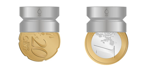 M21.5 thread adapter in comparison with EURO coins. Internal thread