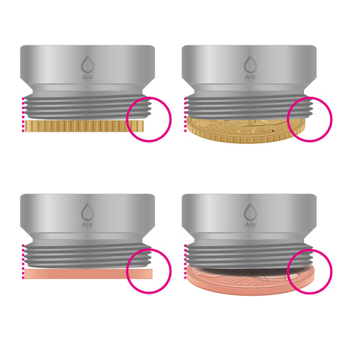 Determine the thread by means of a coin test for water filters on the tap
