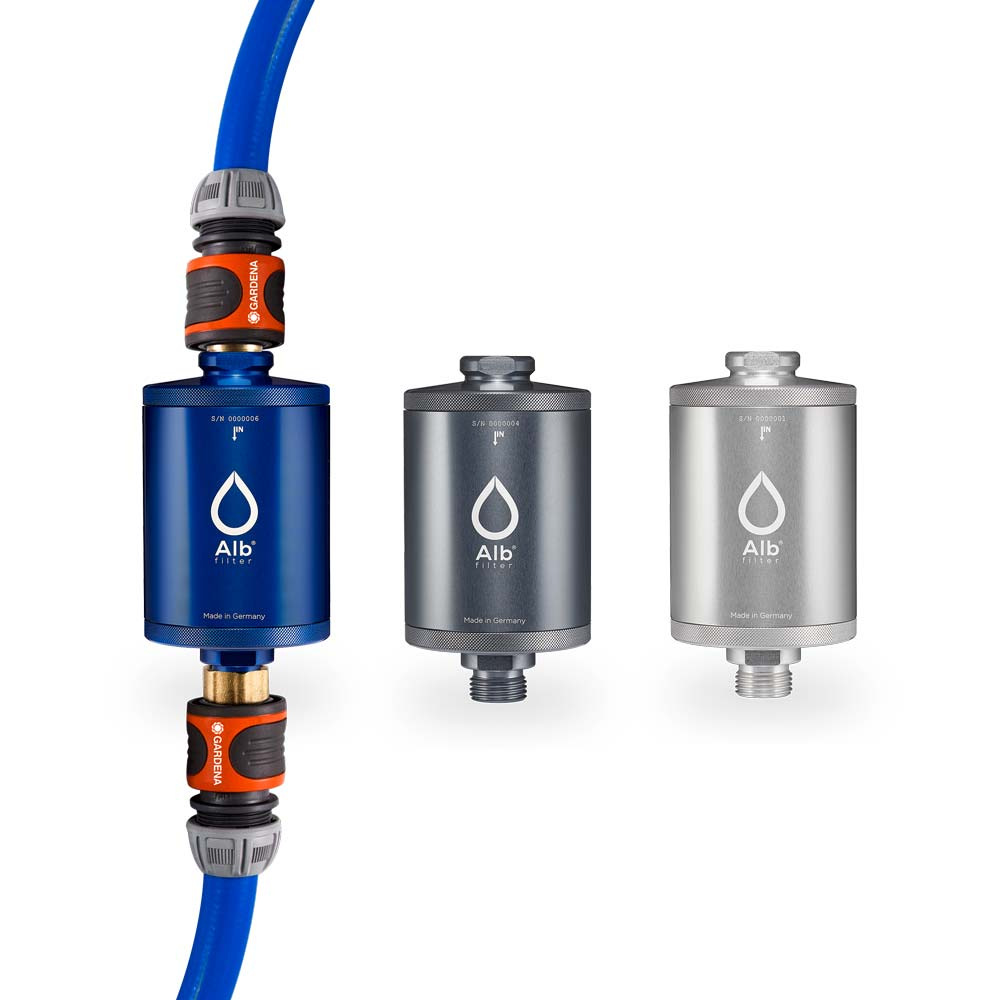 Alb water filter in different colors. With connection set for campers and motorhomes