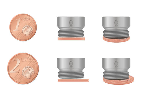 M16 thread adapter in comparison with EURO CENT coins. External thread