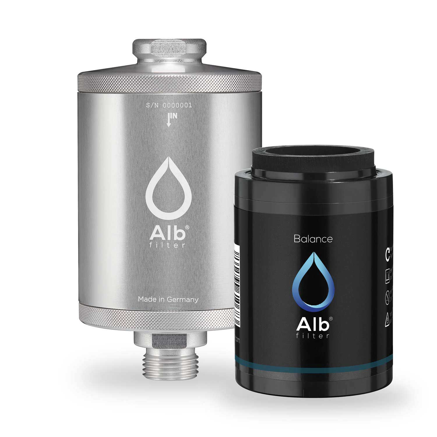Alb Filter. Shower filter housing in silver with balance cartridge