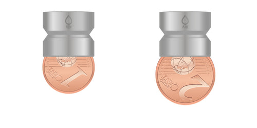 M16.5 thread adapter in comparison with EURO CENT coins. Internal thread