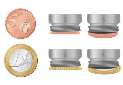M22 thread adapter in comparison with EURO CENT coins. External thread