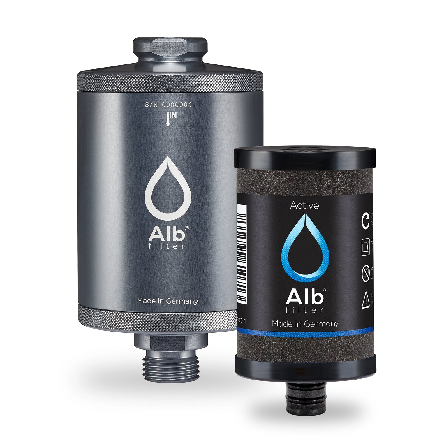 Alb water filter for undertable. Filter housing in titanium colour with Active filter cartridge