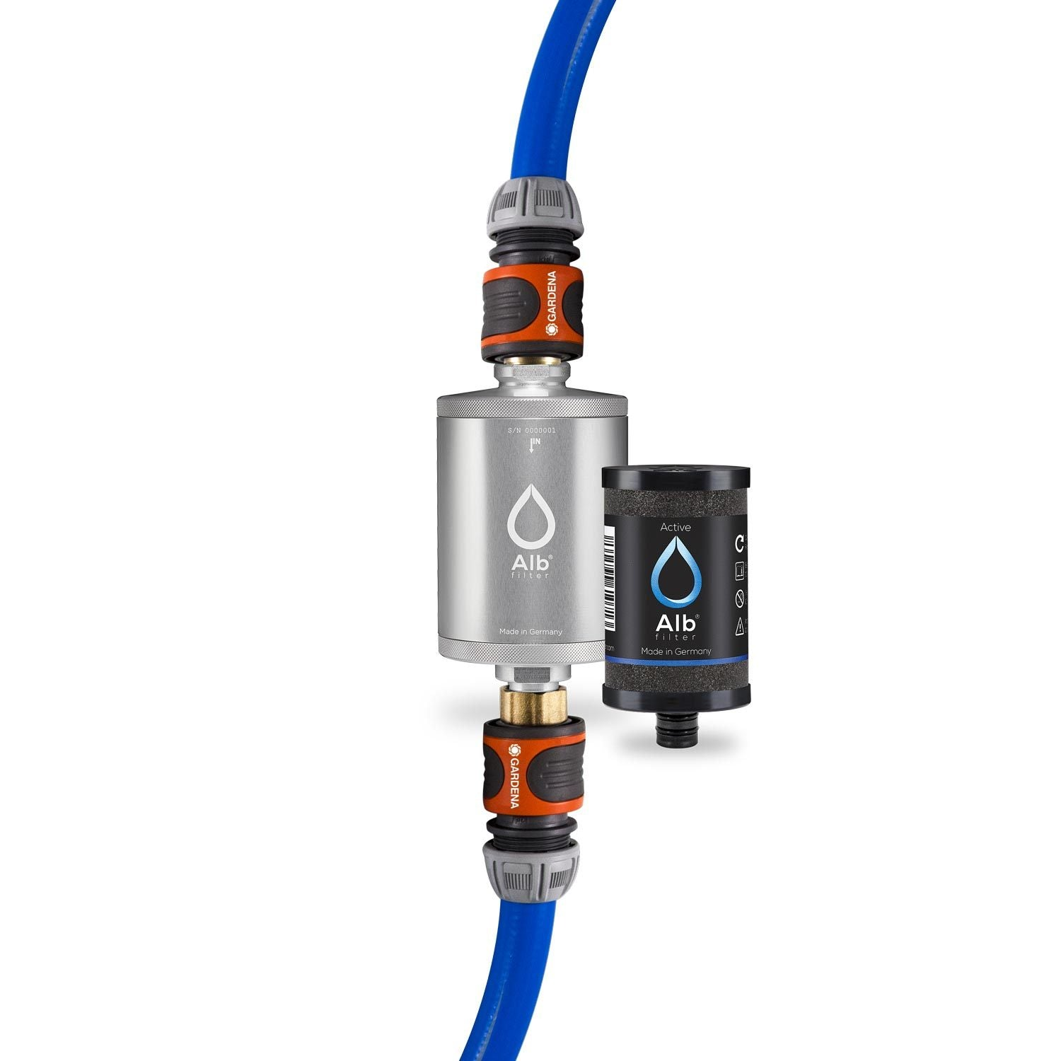 Alb Mobil drinking water filter set. Consisting of the Active drinking water filter in silver and the Gardena connection set with suitable adapters for caravans and motorhomes.