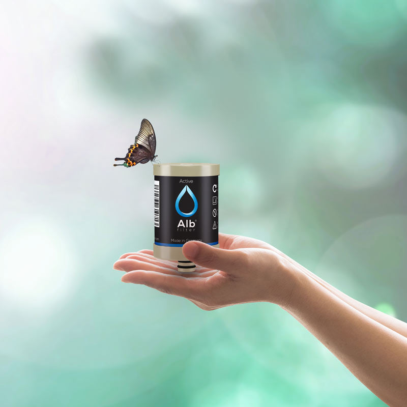 Water filter cartridge with butterfly.